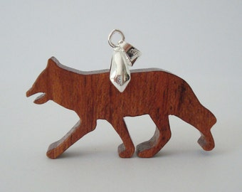 Red Fox Necklace Wood Scroll Saw Pendant Bubinga Hand Cut