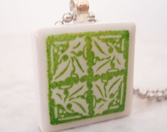 CLEARANCE: Holly Necklace Rubber Stamped Recycled Ceramic Tile Pendant