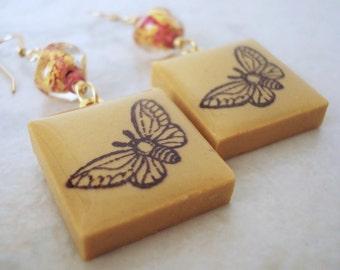 Moth Earrings Rubber Stamped Porcelain Tile Citrine Honey Topaz