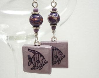 Angelfish Earrings Rubber Stamped Porcelain Tile Dusky Lavender