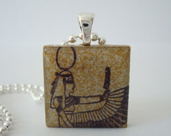 Horus Egyptian God Necklace  Rubber Stamped Porcelain Tile Pendant
