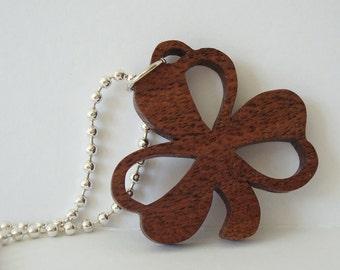 Shamrock Necklace St. Patrick's Day Ireland Walnut Hand Cut Scroll Saw Pendant