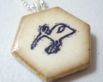 Heron Petroglyph Necklace Recycled Rubber Stamped Ceramic Tile  Pendant