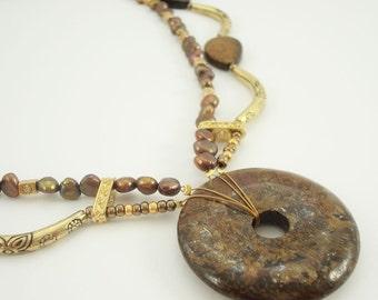 Bronzite Necklace Donut  Teardrop Two Strand