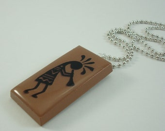 Southwestern Kokopelli Necklace Rubber Stamped Recycled Ceramic Pendant