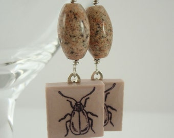Beetle Insect Earrings Rubber Stamped Porcelain Tile Beige