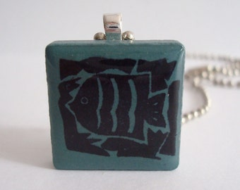 Rubber Stamped Tile Jewelry Fish Necklace Recycled Ceramic Tile Pendant