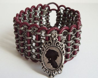 Victorian Silhouette Leather and Chain Cuff Bracelet Pewter Cyclaman