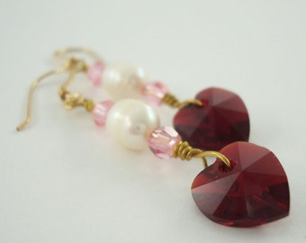 Heart Earrings With Swarovski Crystal Elements Siam Fresh Water Pearl Gold Filled