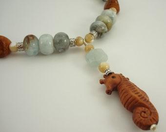 Seahorse Necklace Beaded Necklace Ojime Boxwood Pendant Aquamarine Wood Mother of Pearl