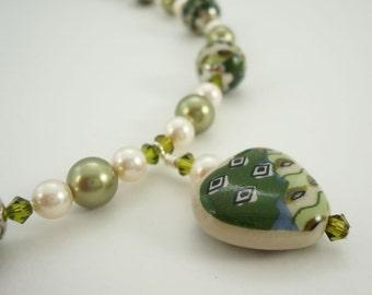Heart Necklace Art Nouveau Style Beaded Necklace Green Porcelain with Swarovski Crystal Elements Olivine