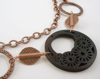 Woodland Jewelry Nature Necklace Copper Leaves Necklace Floral Design Laser Cut Pendant