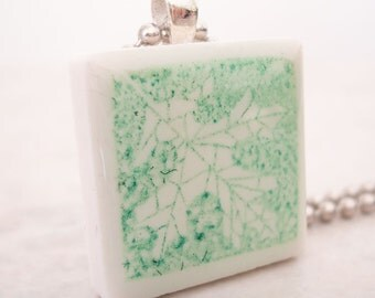 CLEARANCE: Rubber Stamped Leaf Necklace Recycled Ceramic Tile Pendant