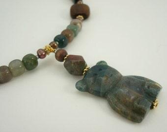 Teddy Bear Beaded Necklace Fancy Jasper Fresh Water Pearls Wood Pewter