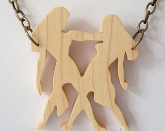 Zodiac Gemini Necklace Wood Pendant Maple Constellation Hand Cut Scroll Saw