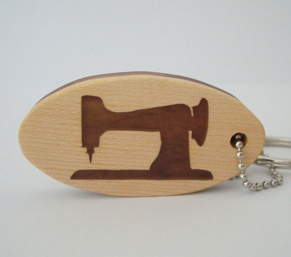 Sewing Machine Key Chain Scroll Saw Wood Keychain Maple Walnut Hand Cut