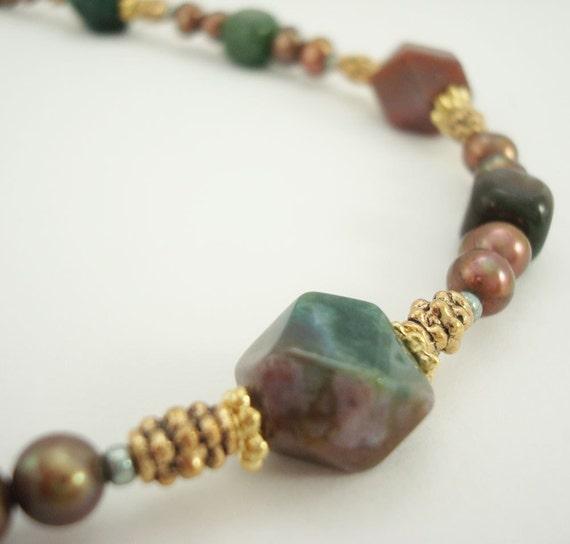 Fancy Jasper Necklace Beaded Fresh Water Pearls  Pewter