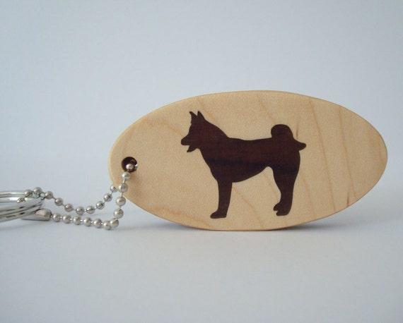 Akita  Key Chain Malamute Dog Keychain Chechen Wood Scroll Saw Hand Cut