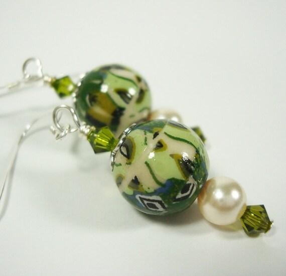 Earrings Art Nouveau Style Green Porcelain with Swarovski Crystal Elements Olivine