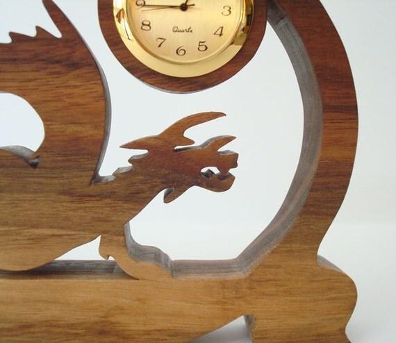 RESERVED for Lynn: European Dragon Clock Walnut Hand Cut Scroll Saw