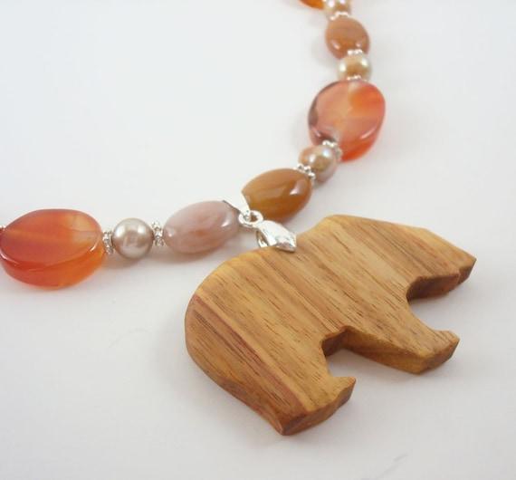 Fetish Wood Bear Necklace Hand Cut Canarywood Agate Fresh Water Pearl