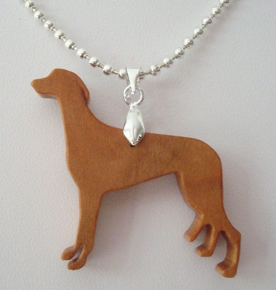 Greyhound Dog Necklace Cherry Hand Cut Pendant Scroll Saw