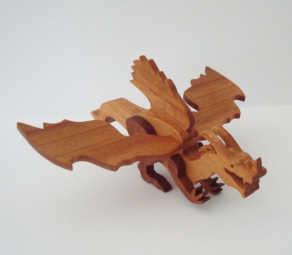 Dragon Toy Frost Norse Waldorf Wood Mahogany Hand Cut Scroll Saw