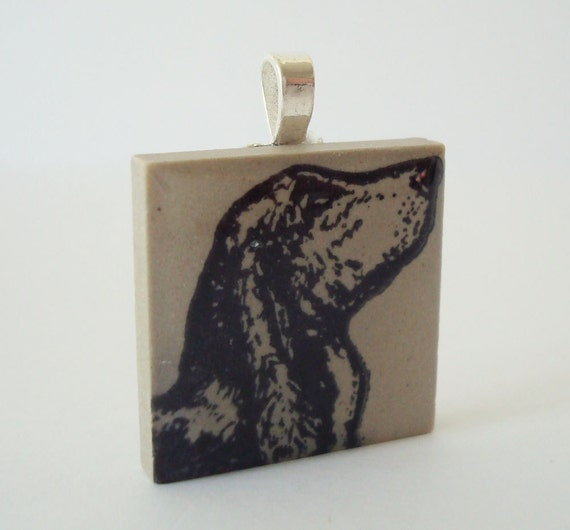 Basset Hound Dog Necklace Rubber Stamped Porcelain Tile Pendant