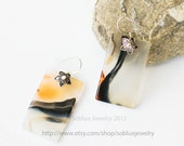 Zen of Mountains and Rivers Moss Agate Silver Earrings one of a  kind