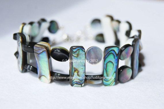 Cezanne spring abalone shell silver bracelet Armband