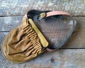 Hip Pocket Belt- Mustard Leather Waist Bag- Yellow Leather Fanny Pack- Leather Hip Pocket