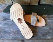 Logwood Dyed Hemp Canvas Flip Flops- Purple Flat Leather Sandal