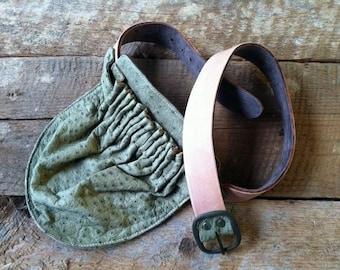Leather Hip Bag- Green Ostrich Waist Bag