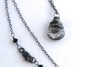 Reserved for Robin - chain for Shards - Wire Wrapped Rutilated Quartz Heart Briolette Necklace