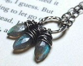 SALE - Daggers - Wire Wrapped Labradorite Faceted Marquise Briolette Necklace
