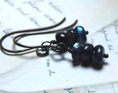 SALE - Stormy - Spectrolite Smooth Rondelle Beaded Earrings