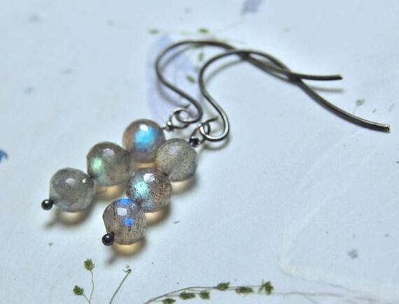 SALE - Dew Drops - Labradorite Faceted Rondelle Bead Earrings