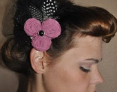 elegance couture vintage inspired hair clip handmade fabric rosettes netting and feathers  On SALE for Halloween