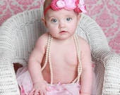 Head over heels couture vintage inspired fabric rosette headband for baby or girl flower headband