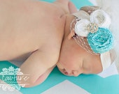 Heavenly Aqua couture vintage inspired fabric rosette headband in aqua and white