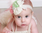 Perfectly Pastel couture vintage inspired fabric rosette headband in beautiful pastel colors from baby to adult