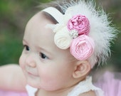 Pink spring  couture vintage inspired fabric rosette headband flower headband