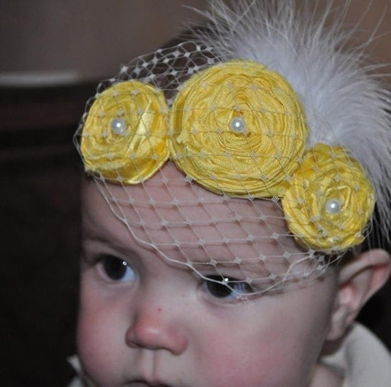 50% off today use code NEW50 Lemon Pie couture vintage inspired headband for baby girl handmade fabric rosettes