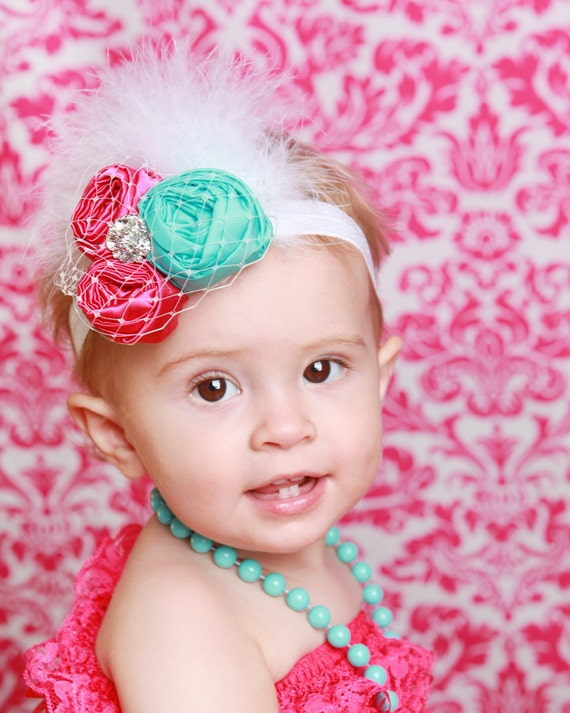 50% off today only use code NEW50 Summer Kiss couture vintage inspired fabric rosette headband for baby to adult flower headband