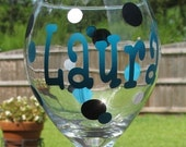 Personalized Wine Glass - Bridesmaid Gift - Sorority Gift - monogrammed wine glass