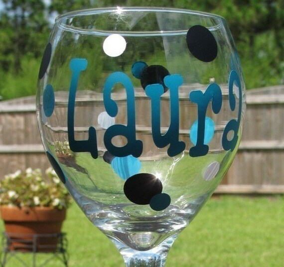 Personalized Wine Glass - Bridesmaid Gift - Sorority Gift - Monogrammed Wine Glass - Bridal Party Gift - Name Glass - Fun Wine Glass