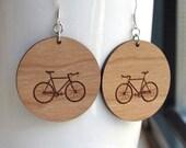 Wood Bike Earrings - Large Round