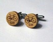 Bike Cuff Links with Initials made of Cherry Wood, Monogram