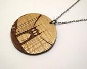 St Johns Bridge Necklace Wood - Large on gunmetal chain