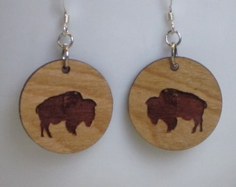 Bison Earring, Small Wood Circle, Standard hook